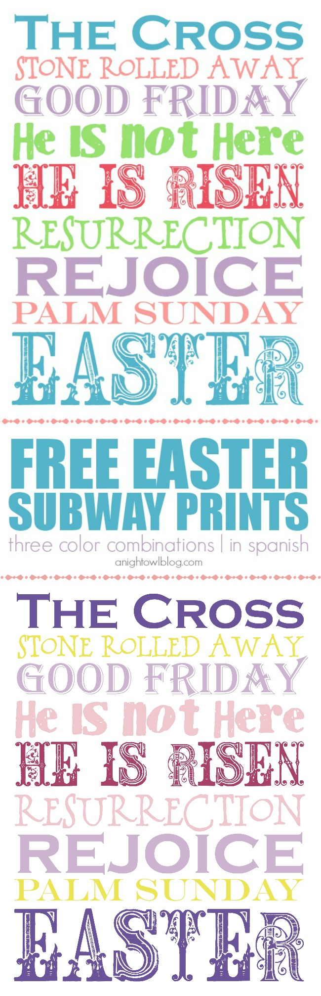 FREE Easter Subway Printables - three color combinations and available in Spanish! Download and print for free Easter decor!