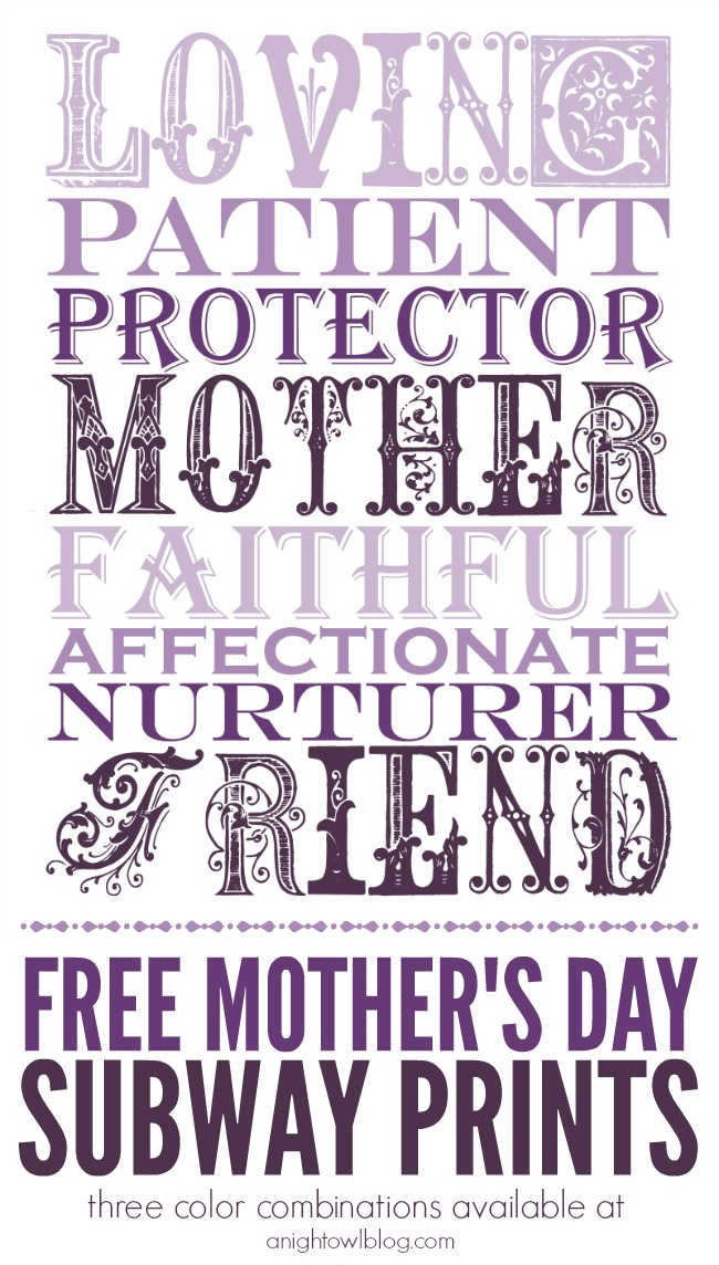 Free Mother's Day Subway Prints - 3 color combinations!