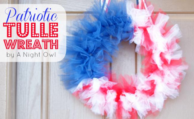 Patriotic Tulle Flag Wreath by @anightowlblog