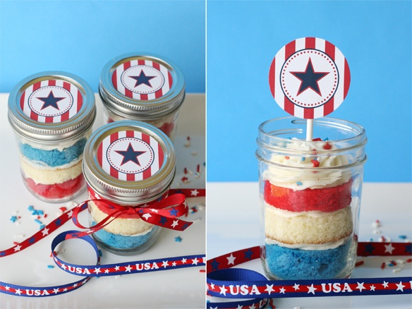 red white and blue cupcakes in jars