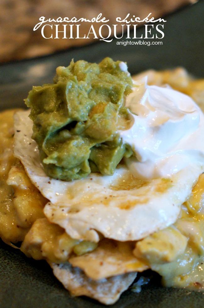 Guacamole Chicken Chilaquiles | anightowlblog.com