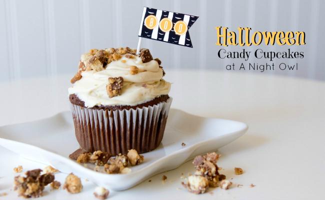 Halloween Candy Cupcakes at @anightowlblog