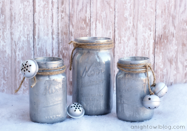 DIY Mercury Glass Mason Jars at anightowlblog.com | #mercuryglass #masonjars
