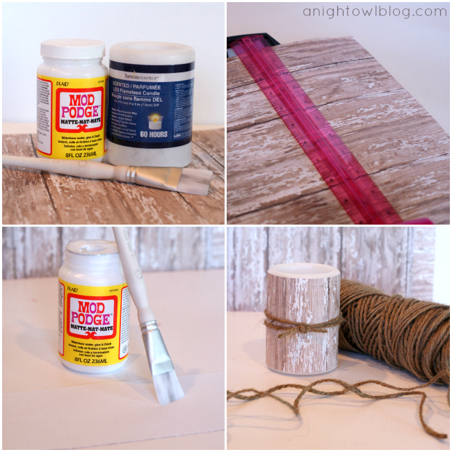 DIY Birch Candles - learn to create your own faux birch candles in just minutes at anightowlblog.com   #potterybarn #knockoff #birch #candles