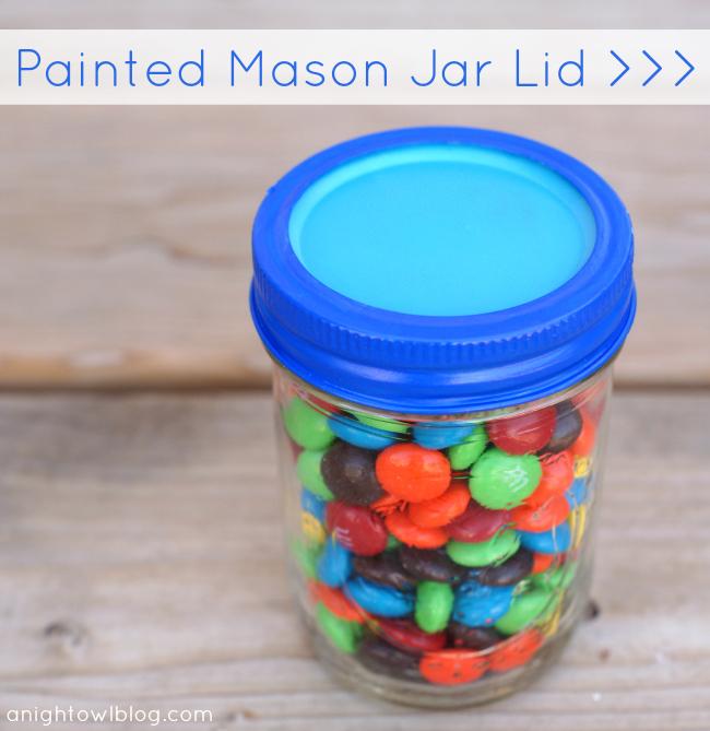 Painted Mason Jar Lid at @anightowlblog