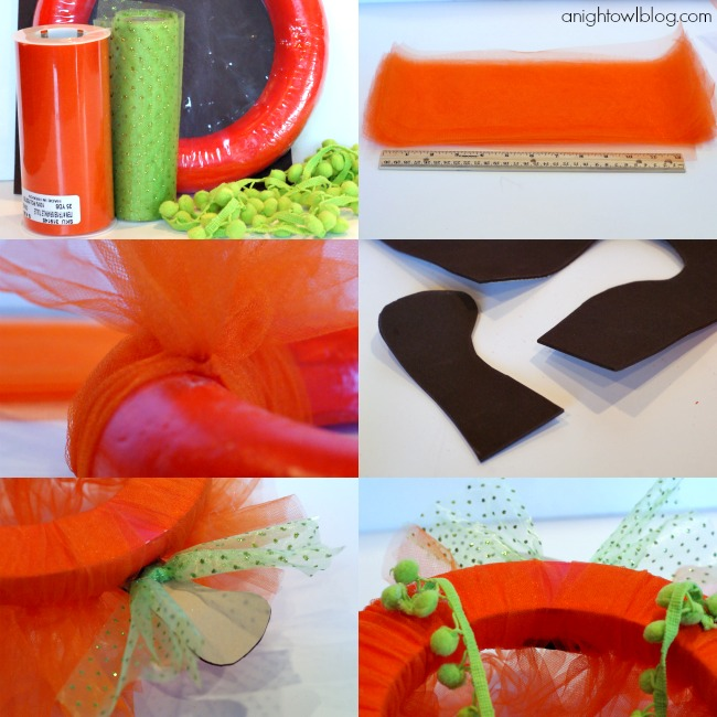 How to make a Tulle Pumpkin Wreath | #halloween #fall #pumpkin #wreaths