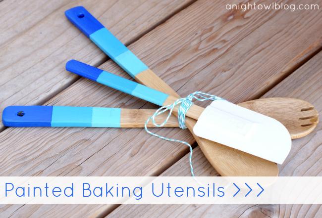 Ombre Painted Baking Utensils at @anightowlblog