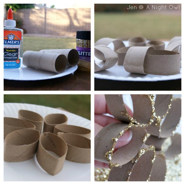 DIY Toilet Paper Roll Glitter Snowflake Ornament Tutorial at @anightowlblog
