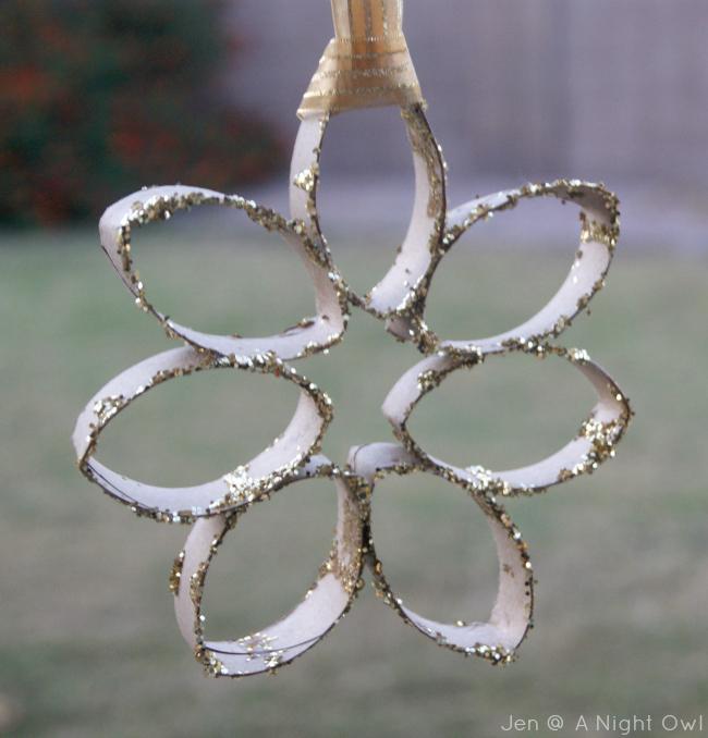 DIY Toilet Paper Roll Glitter Snowflake Ornament at @anightowlblog