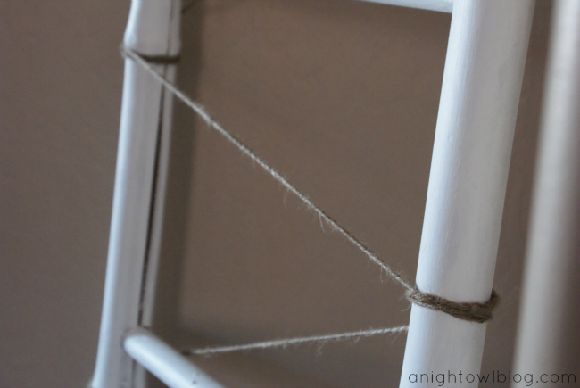 Display your Christmas cards on a ladder with twine and clothespins!
