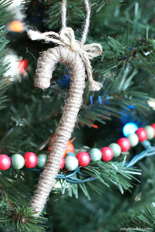 I love the look of twine wrapped around a candy cane! Such an easy and fun handmade ornament!