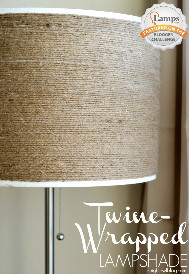 DIY Twine-Wrapped Lampshade at anightowlblog.com | #twine #lampshade #lighting #decor