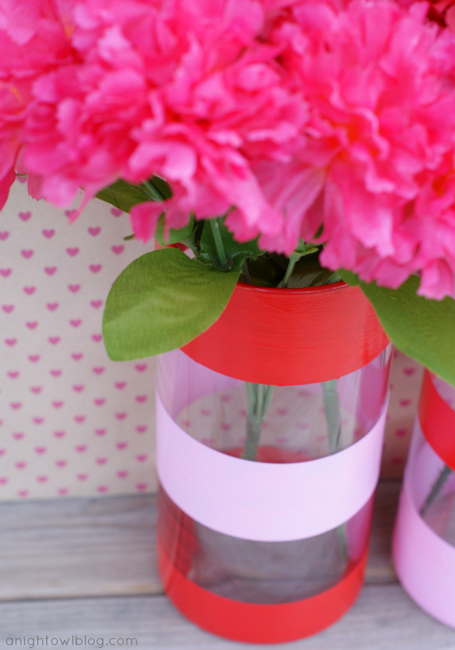 Easy Valentines Decor - Dollar Store vases, painter's tape and DecoArt Gloss Enamels that work great on glass!
