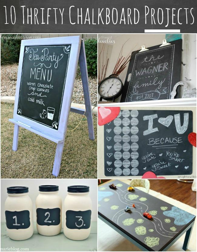 10 Thrifty Chalkboard Projects at { anightowlblog.com } #thrifty #chalkboard #goodwill