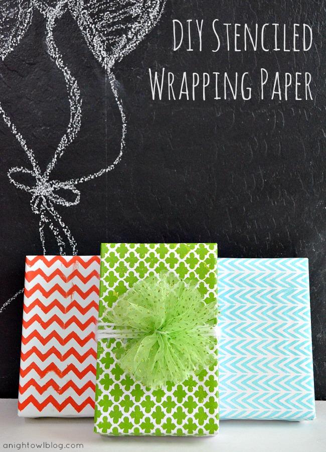 DIY Stenciled Wrapping Paper #MarthaStewartCrafts #12MonthsofMartha
