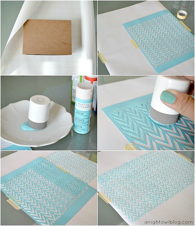 diy stenciled wrapping paper with martha stewart crafts a night