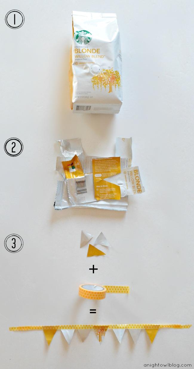 Starbucks Bag Bunting #DeliciousPairings #NationalCraftingMonth