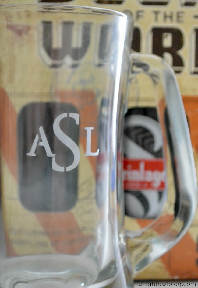 DIY Monogram Beer Mug | #monogram #fathersday #gift