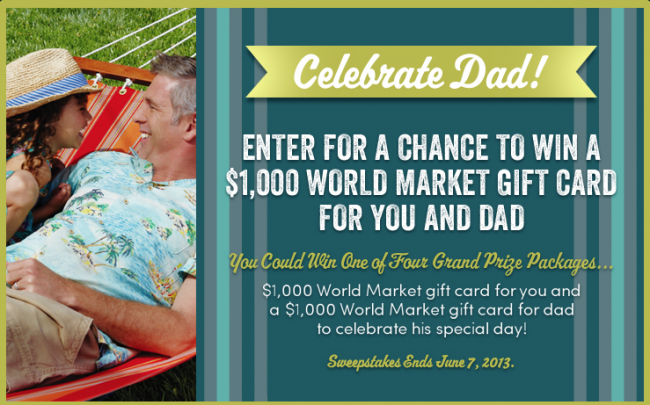 Dad's Day Sweeps at Cost Plus World Market #CelebrateDad