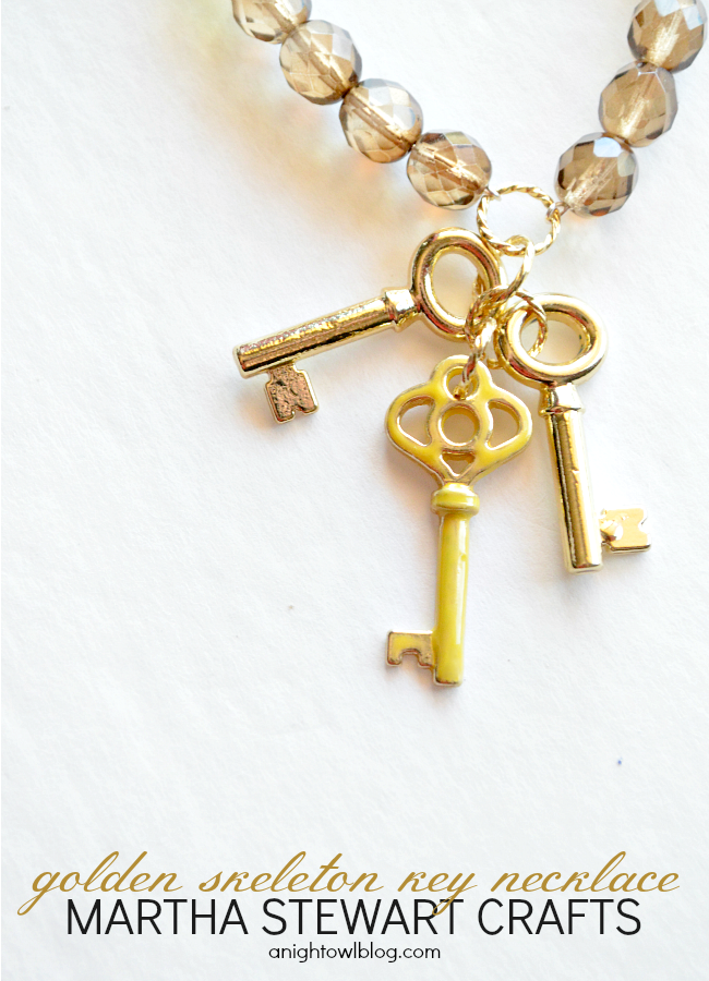 DIY Golden Skeleton Key Necklace with Martha Stewart Crafts® Jewelry | #12monthsofmartha #marthastewartcrafts #jewelry