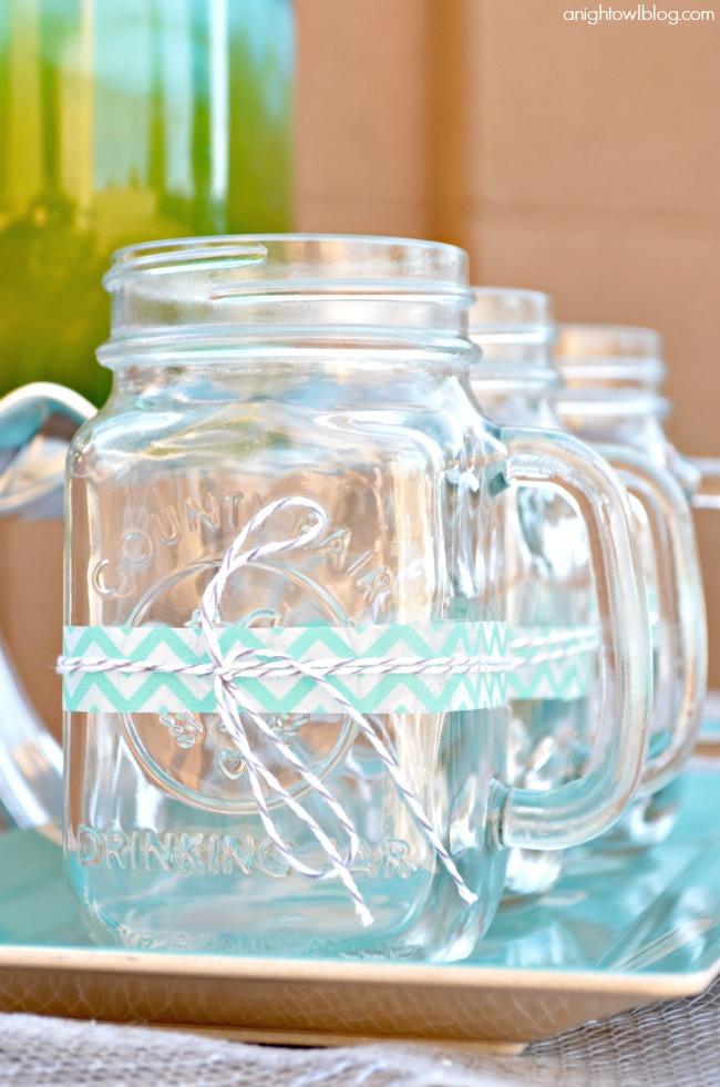 Wrap World Market Mason Jars with washi tape and twine for fun, festive drinks! #SummerFun