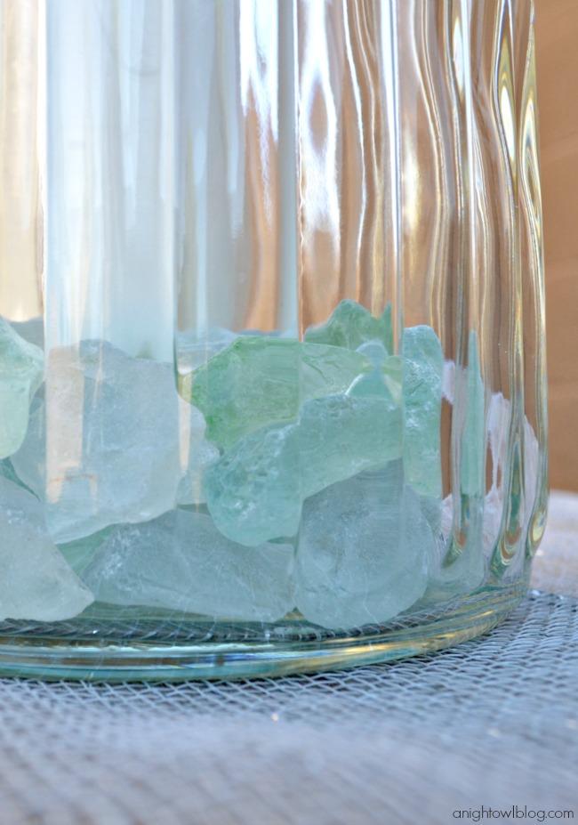 Seaglass Vase Filler in World Market Lanterns #SummerFun