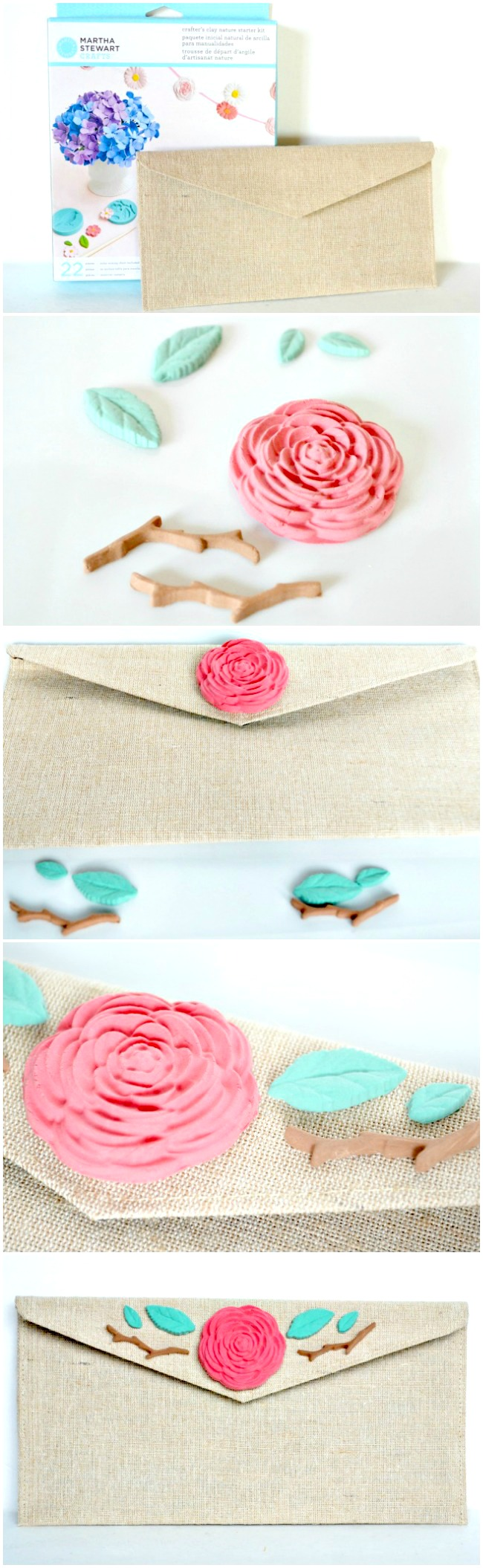 How to make a DIY Floral Burlap Clutch with Martha Stewart Crafts | #marthastewartcrafts #12monthsofmartha