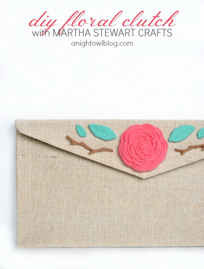 DIY Floral Burlap Clutch with Martha Stewart Crafts | #diy #marthastewartcrafts #12monthsofmartha