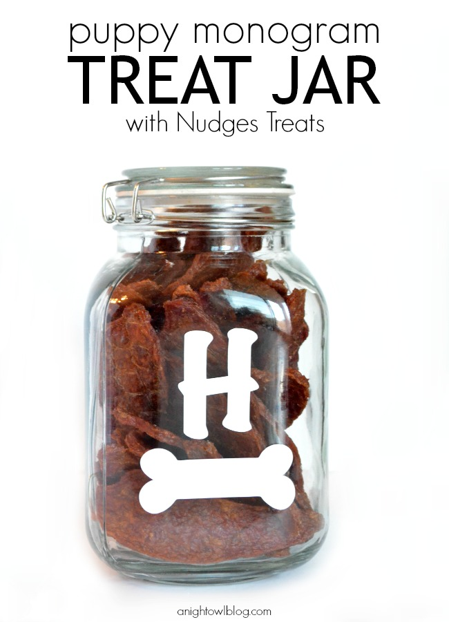 DIY Puppy Monogram Treat Jar with Nudges Treats | #NudgesMoments #cbias