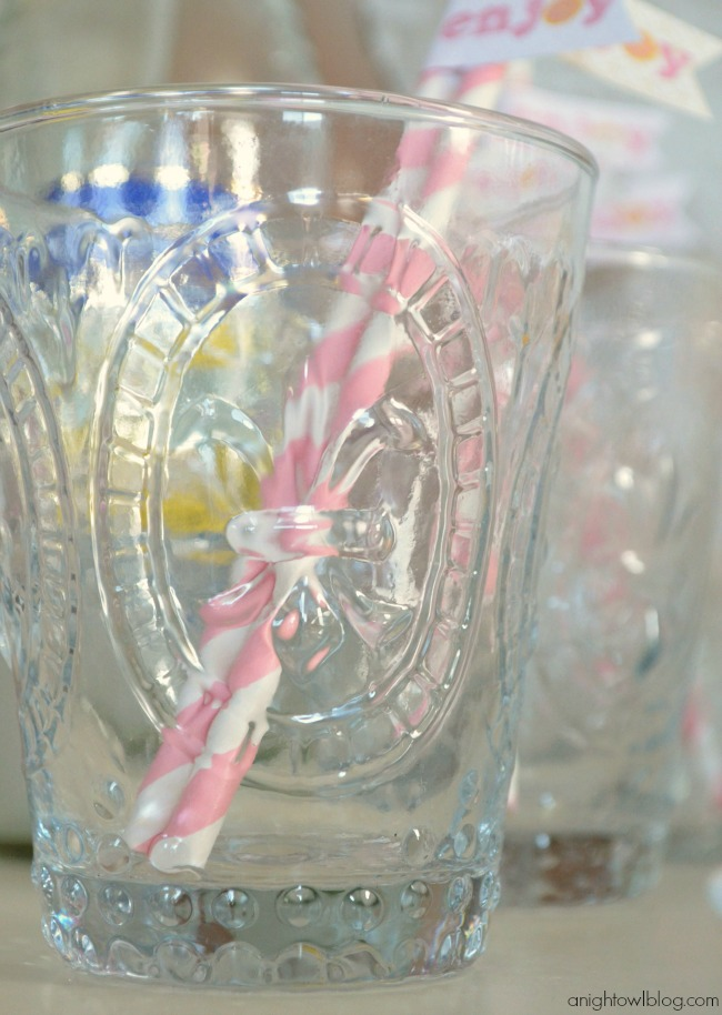 Fleur de Lis World Market Glassware for a Lorina Lemonade Stand Dessert Table | #lorina #lemonade #stand #dessert #party #worldmarket #SummerinParis