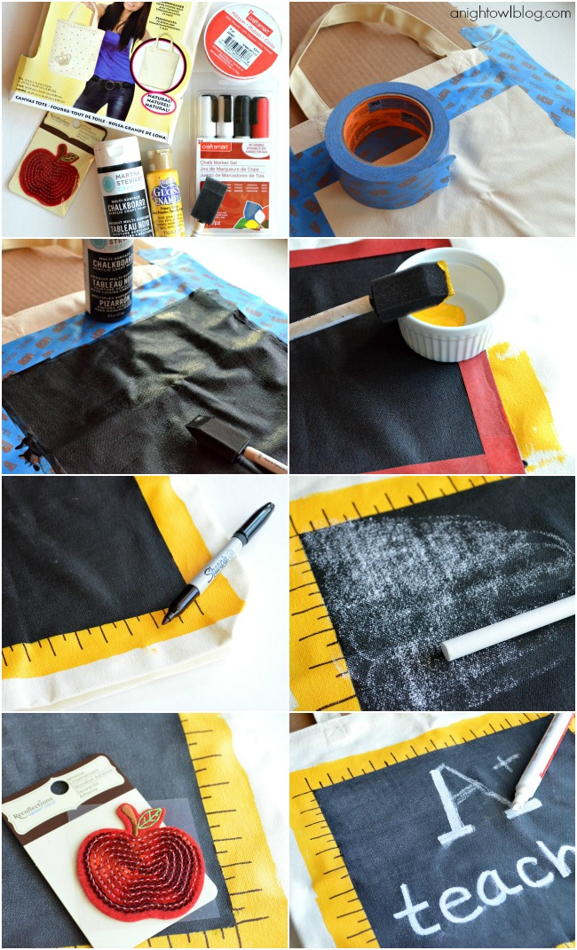 How to make your own Back to School Teacher's Chalkboard Tote! | #michaelsbts #backtoschool #teacher #gift #chalkboard