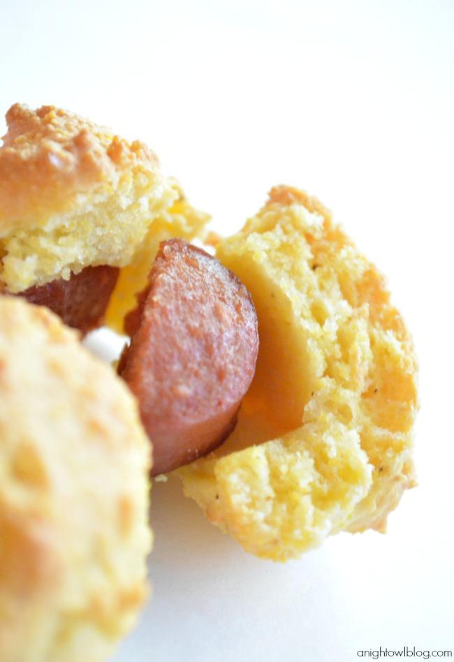 Easy Baked Corn Dog Bites Recipe | #appetizers #afterschool #backtoschool #snacks
