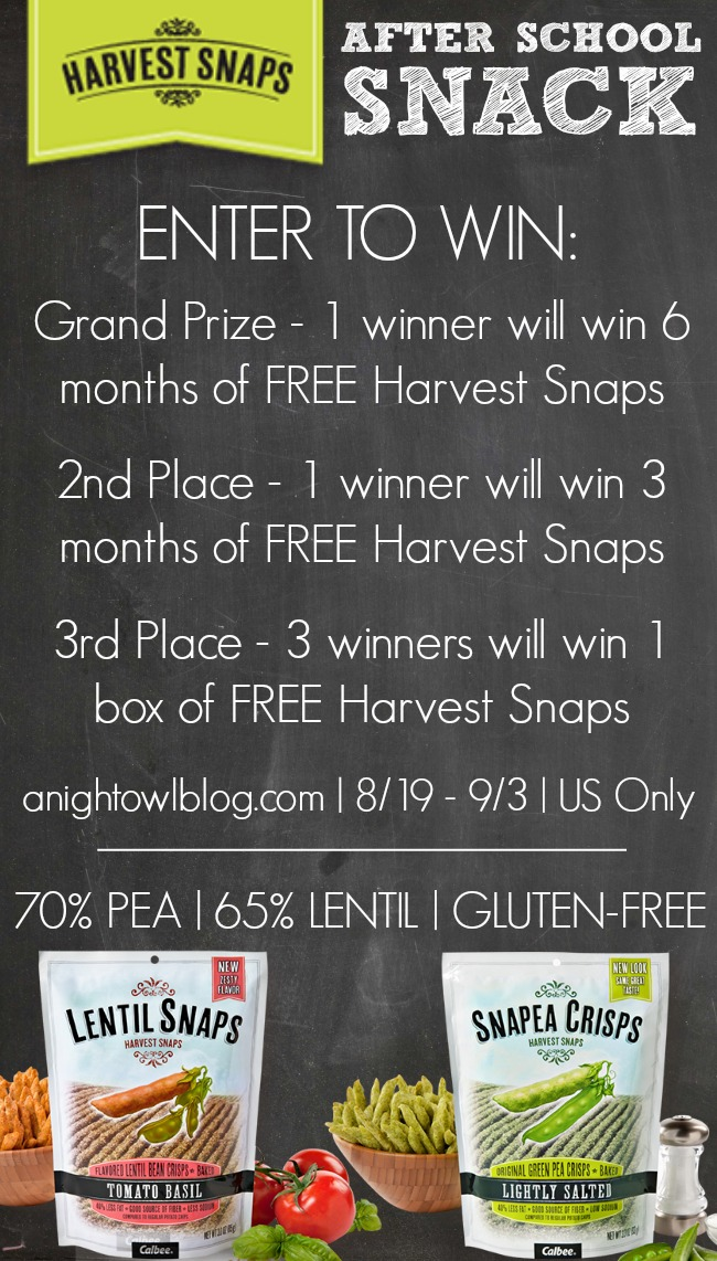 Harvest Snaps Back to School Giveaway | #harvestsnaps #healthy #snacks #kids #family #backtoschool