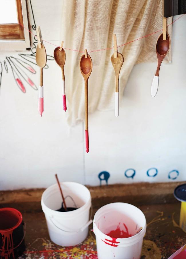 Paint dipped wooden utensils - Martha Stewart Living