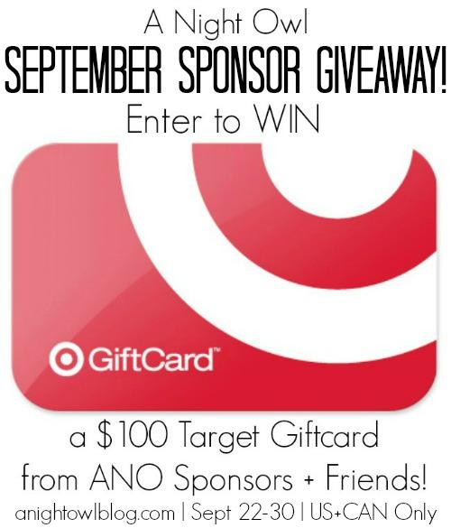 ANO September Sponsor Giveaway | anightowlblog.com | Ends 9/30