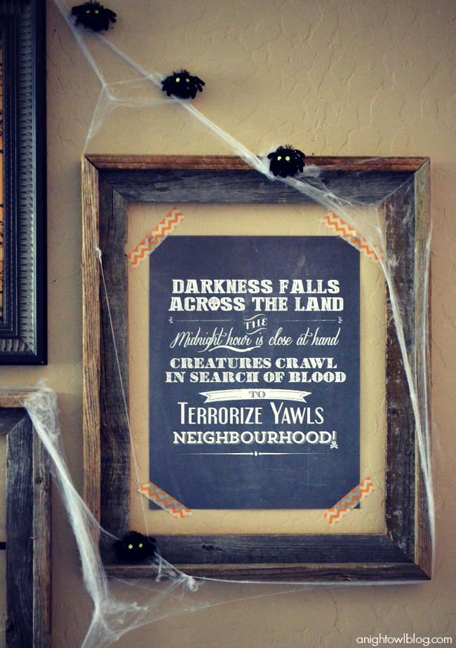 Halloween Gallery Wall and FREE Printables at anightowlblog.com | #12monthsofmartha #marthastewartcrafts #halloween