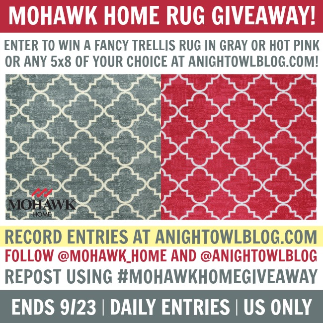 Mohawk Home Area Rug Giveaway at anightowlblog.com! End 9/23. US Only.