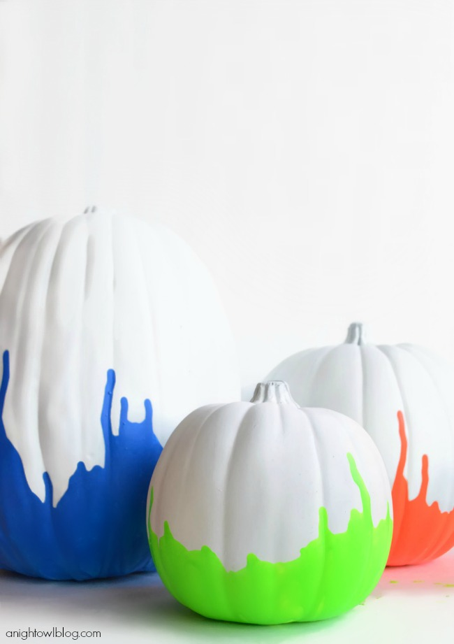 Neon Paint Dipped Pumpkins | #neon #paintdipped #pumpkins #halloween #fall #MPumpkins