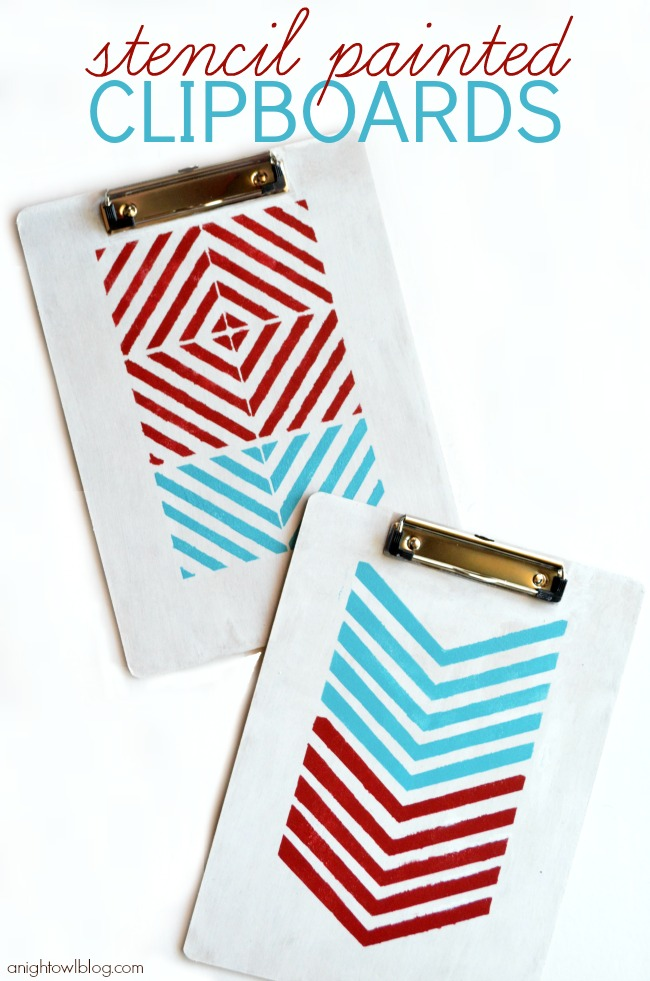 Stencil Painted Clipboard with DecoArt Multi-Surface Satins | #stenciled #clipboards #decoart