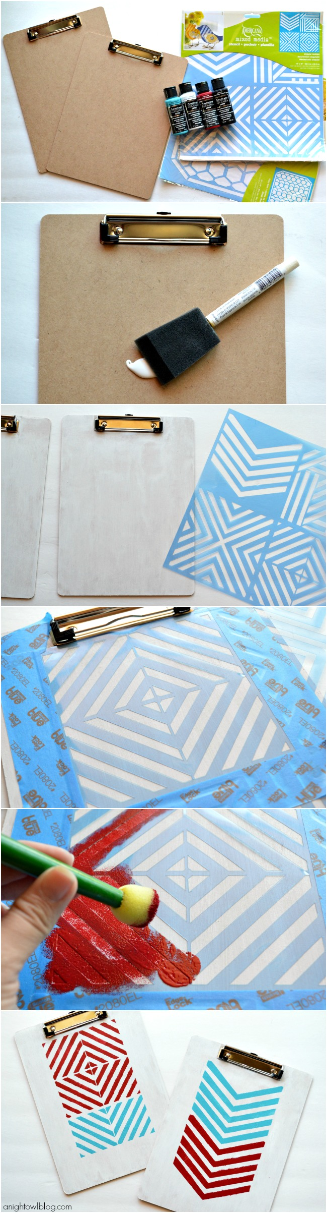 How to make Stencil Painted Clipboard with DecoArt Multi-Surface Satins | #stenciled #clipboards #decoart