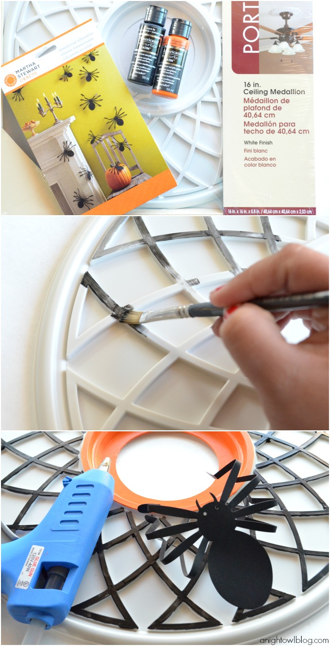 How to make a fun and easy Spider Web Halloween Wreath made from a ceiling medalion at anightowlblog.com | #Halloween #decor #wreath