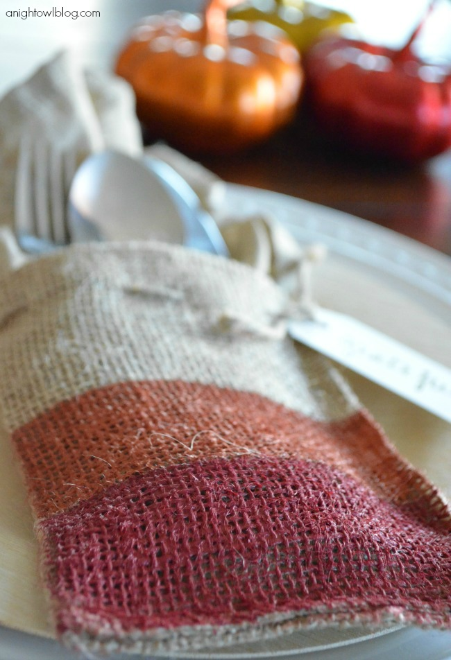 Painted Burlap Thanksgiving Place Setting with Americana Multi-Surface Satins at anightowlblog.com