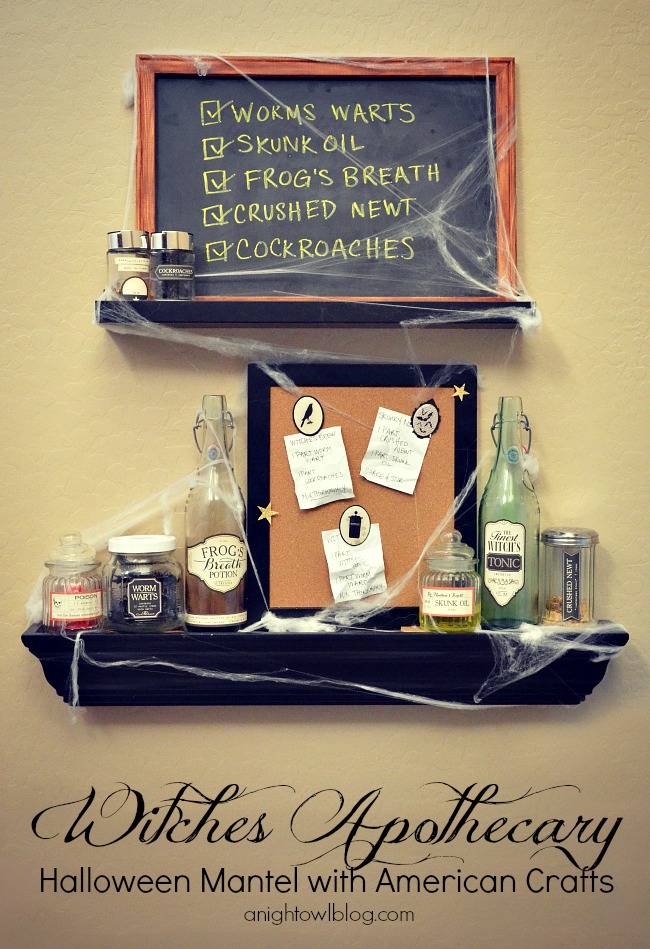 Witches Apothecary Halloween Mantel with American Crafts and Target
