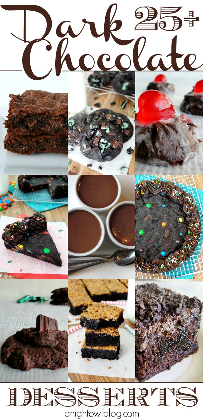 So many delicious dark chocolate dessert recipes! Cookies, cakes and more! #darkchocolate #desserts #recipes