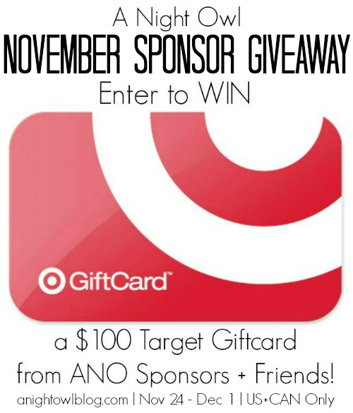 Win a $100 Target Gift Card from the A Night Owl November Sponsor Giveaway!