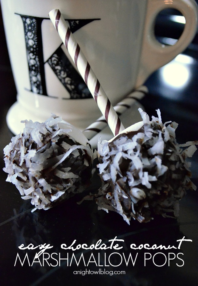 Easy Chocolate Coconut Marshmallow Pops with #KraftEssentials #shop