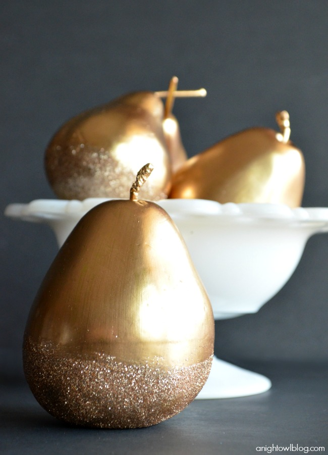 Make these beautiful Gilded Glitter Pears with #MarthaStewartCrafts gold gilding, decoupage and glitter! #12MonthsofMartha