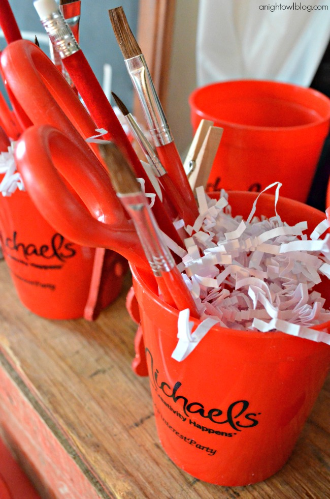 Craft cups at a fun at-home Pinterest Party with Michaels!