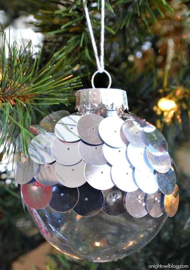 Jazz up your plain Christmas bulbs with fabulous sequins!