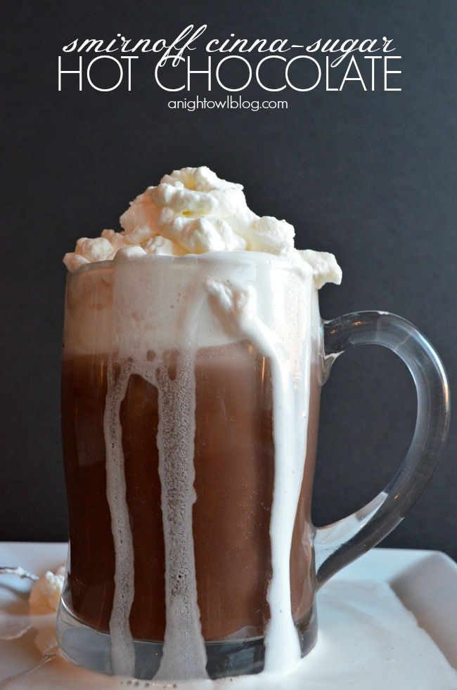 A delicious night-cap made with your favorite hot chocolate and Smirnoff Cinna-Sugar Vodka Whipped Cream!